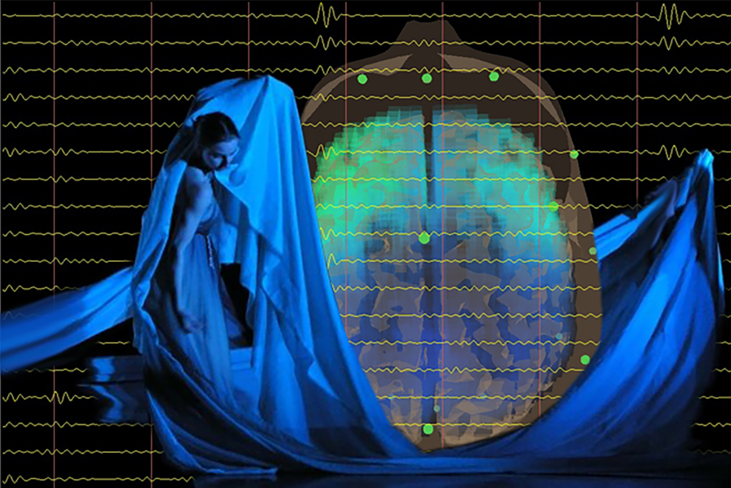 Image of a dancer in front of a projection of their own brainwaves